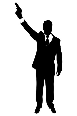 bellow: Powerful businessman with a gun Illustration