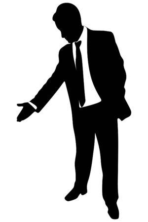 businessman pointing down Ilustração