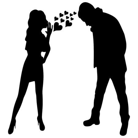 Young cute woman whispering secrets in her boyfriend's ear