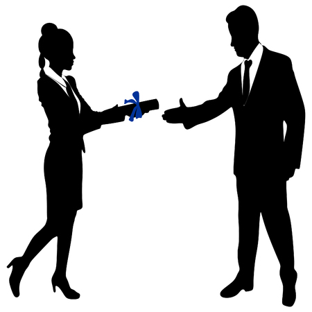 Young Businesswoman holds up her certificate while Business man extending hand to shake