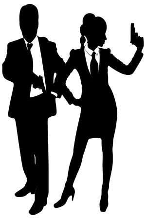 dangerous woman: woman and man with gun