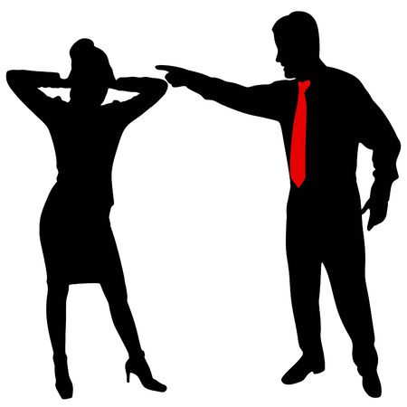 fury: angry businessman yelling, Business Woman covering her ears with both hands