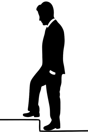 serious: business and education concept - serious businessman stepping on step