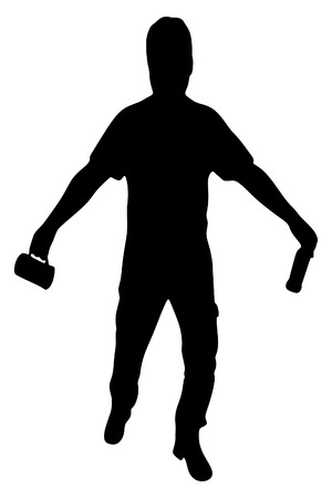 Silhouette of a man with a beer bottle, drunk man