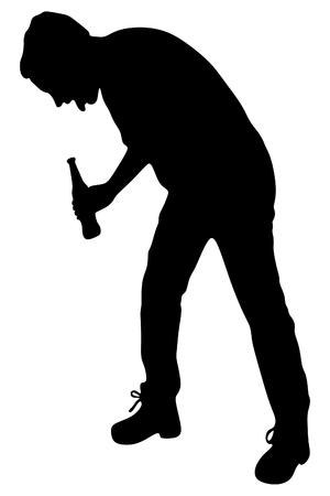 yuppie: Silhouette of a man with a beer bottle, drunk man vomit Illustration