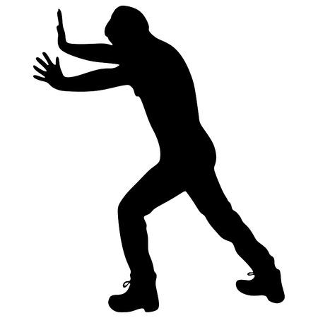 Casual uomo spingendo un muro - isolato su uno sfondo bianco Vettoriali