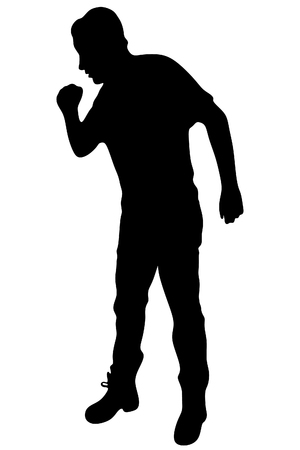 person silhouette: Strongly coughing young man suffered from asthma Illustration