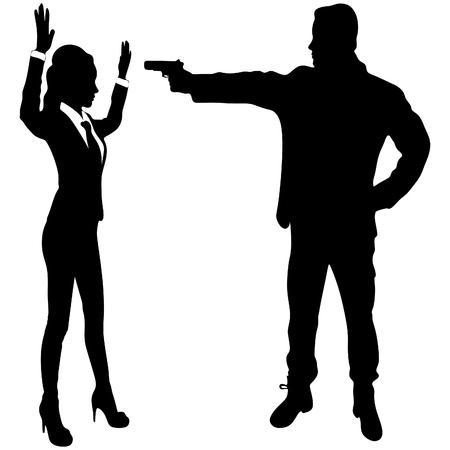 Man with gun threatening woman