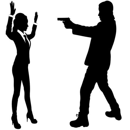 銃脅迫女性と男性  イラスト・ベクター素材