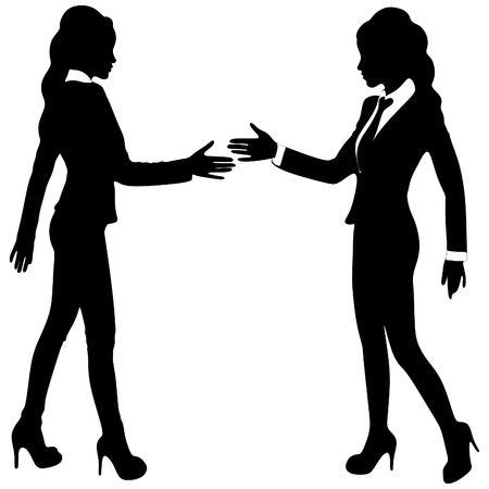 colleagues: Two Businesswomen Shaking Hands In Modern Office