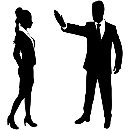 stop gesture: business woman and business man - boss who showing stop gesture