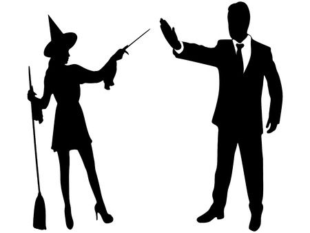 stop gesture: witch putting a spell on a man who showing stop gesture