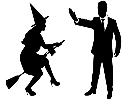 witch on broom and man who showing stop gesture