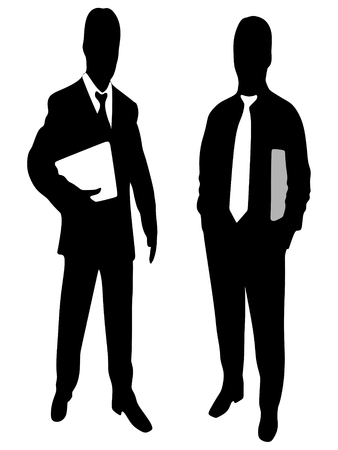businessman shoes: successful businessmen holding folder Illustration