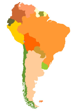South America- detailed map Vetores