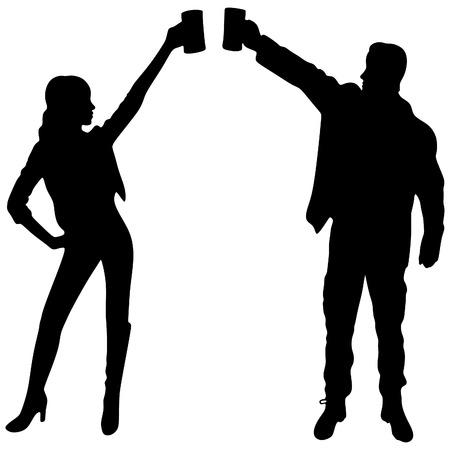 Mann und Frau Toast mit Bierbechern