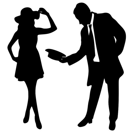 silhouette of the lady and gentleman Imagens - 61761374