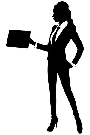 jonge vrouw stond met haar klembord Stock Illustratie