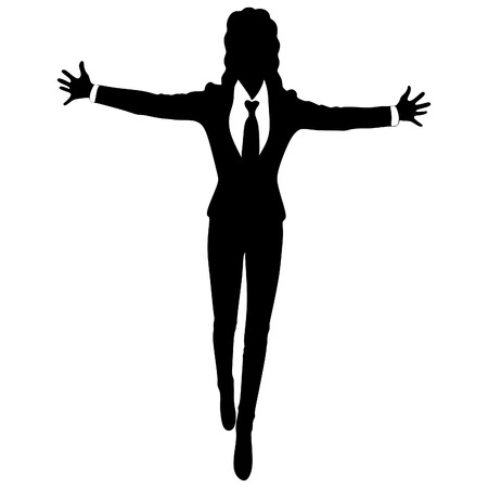 arms open: Young business woman smiling whit her arms open Illustration