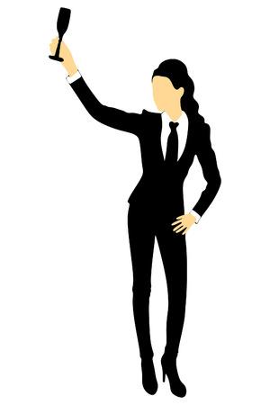 Beautiful woman with wine glass Illustration
