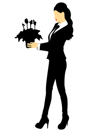 business woman holding a pot of flowers