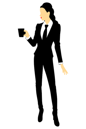 woman drinking coffee: Business woman drinking coffee or tea Illustration