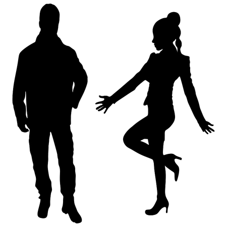 shadow man: Winners concept, man and woman standing