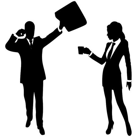 teamworking: business people working Illustration