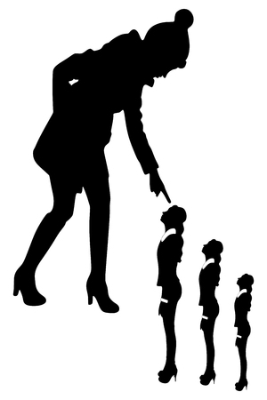 upset woman: young woman looking and pointing at small sad women Illustration