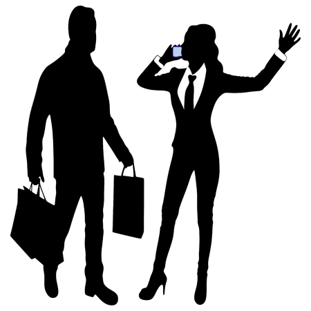 happy couple: happy fashionable couple in shopping, woman talking on the phone Illustration