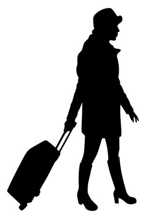 wharf: beautiful tourist with suitcase Illustration