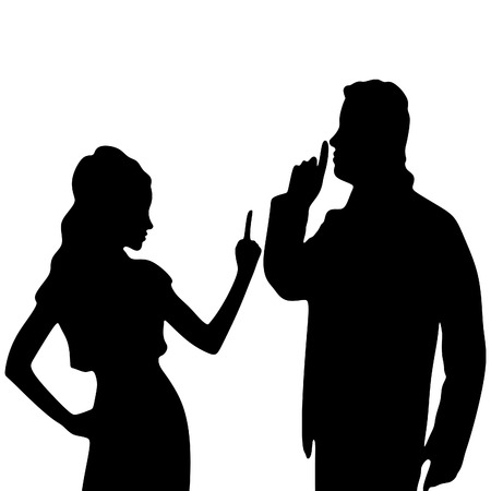 man showing hand silence sign his girlfriend