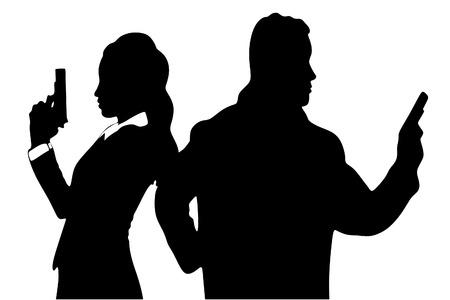 gun man: man and woman aiming gun Illustration