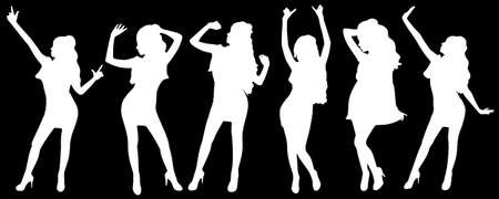 clubber: girls dancing in silhouettes