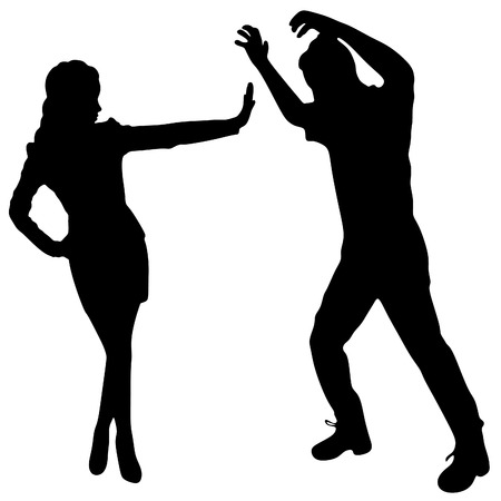 young couple arguing with each other over white background