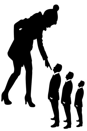 woman looking down: young woman looking and pointing at small business man