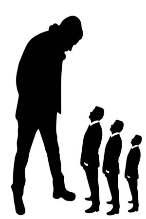 small business: young man looking at small business people Illustration