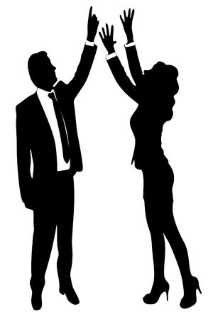 reach: business woman trying to reach something with her hands, business man pointing Illustration