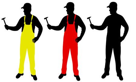 handyman with hammer, vector Illustration