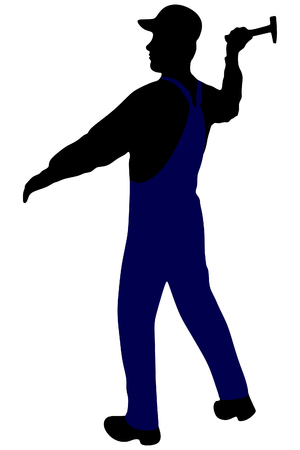handy man: silhouette of a handyman with a hammer
