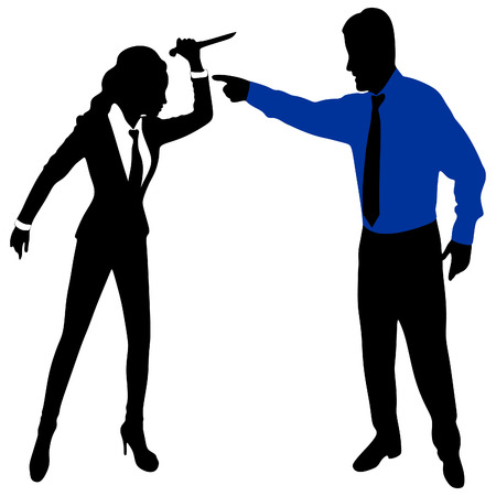 hypocrite: angry business man screaming at a woman holding a Knife