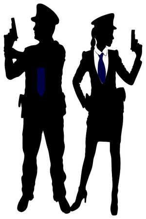 woman police officer and policeman with handguns Illustration