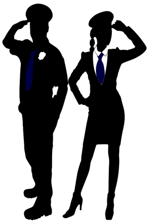 handcuffs female: Portrait of two mid adult police officers standing on a white background