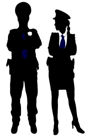 mujer policia: policía y policía posando con los brazos cruzados contra el fondo blanco