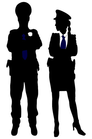 against white: policeman and policewoman posing with arms crossed against white background