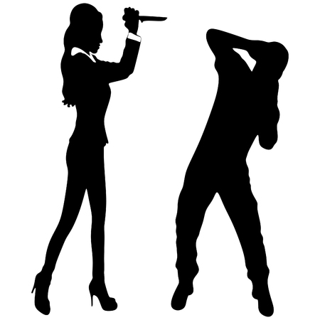 hypocrite: woman with knife attacking man Illustration