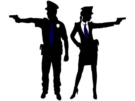 handcuffs female: woman police officer and policeman with handguns aiming