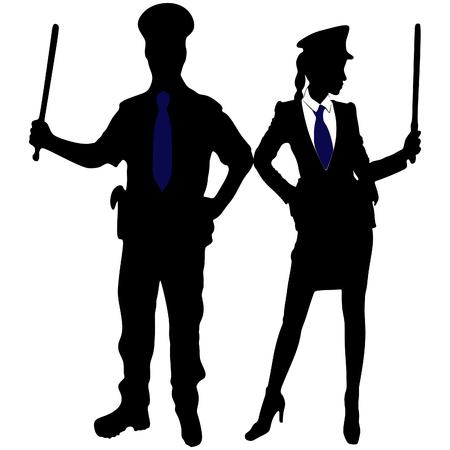 femme policier: policeman and policewoman Illustration