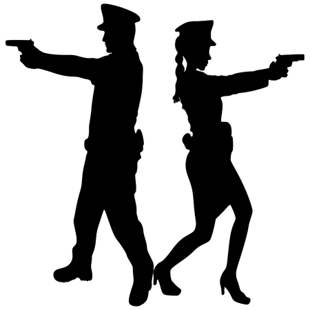 handguns: woman police officer and policeman with handguns aiming