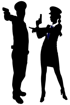 handcuffs woman: woman police officer and policeman with handguns aiming